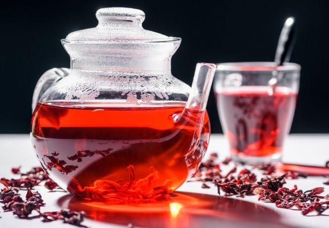 Hibiscus flower tea from the tea garden