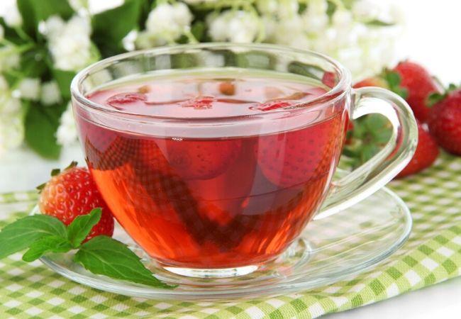 Strawberry leaf tea from the tea garden