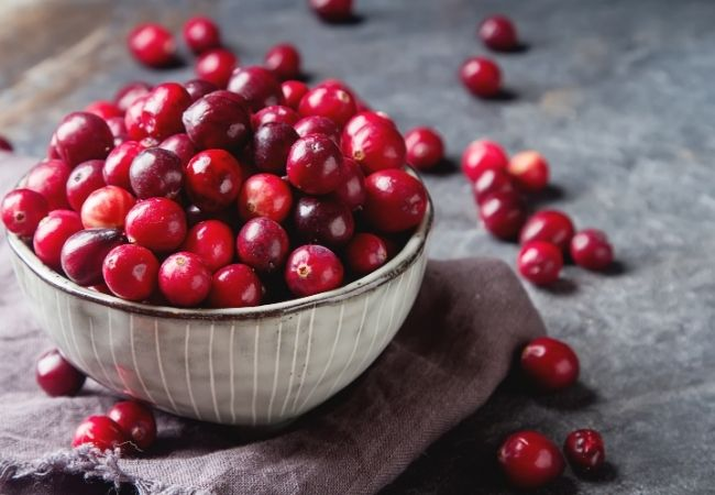 Bowl of Fresh Cranberries on a dish towel