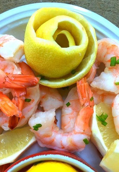 Lemon Rose Garnish for Shrimp Cocktail Platter