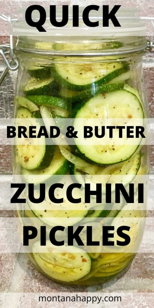 Quick Bread and Butter Zucchini Pickles Pin for Pinterest - clear mason jar filled with zucchini pickles against brick backdrop