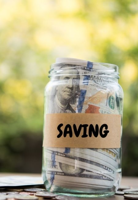 Clear jar with the word Saving on it - Creative Ways to Save Money